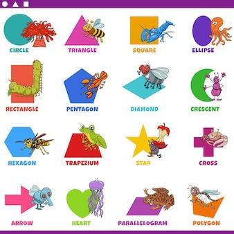 Основные геометрические фигуры с набором персонажей комиксов животных