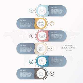 Basic infographic template six element circles for present business concept.