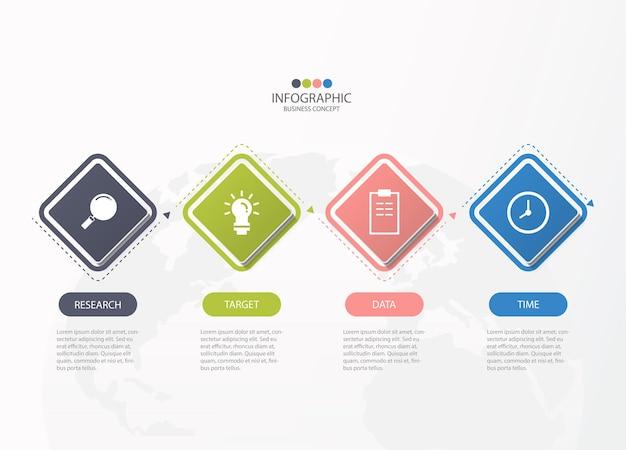 4つのステップ、プロセス、またはオプションを備えた基本的なインフォグラフィックテンプレート