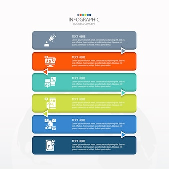 Basic infographic template with 6 steps, process or options, process chart, used for process diagram, presentations, workflow layout, flow chart, infograph. vector eps10 illustration.