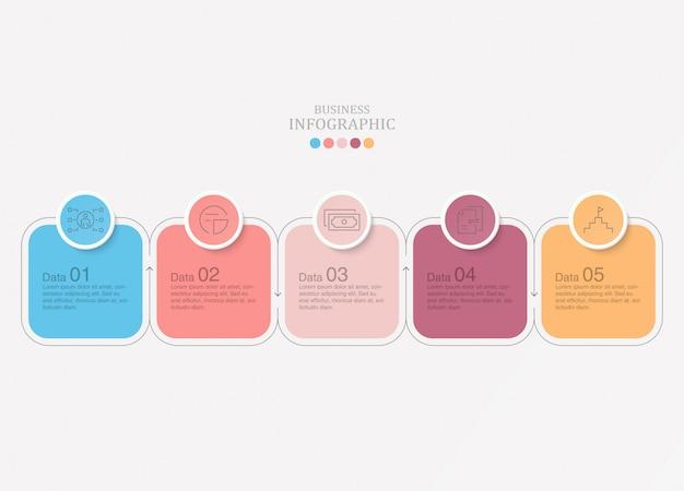 現在のビジネスコンセプトの基本的なインフォグラフィック。 5つのオプション、パーツまたはプロセス。