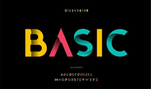 Базовый «современный алфавит. модный футуристический набор букв»