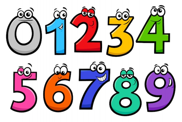 Basic numbers cartoon characters set