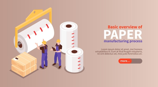 Basic overview of paper manufacturing process isometric horizontal web banner