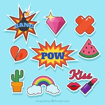Basic pack of pop art stickers