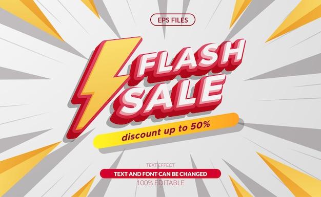 천둥 기호가 있는 기본 rgbflash 판매 3d 편집 가능한 텍스트 효과. 큰 판매 할인 제공 배너입니다. eps 벡터 파일