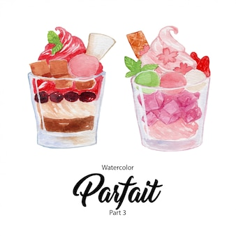 Basic rgbfruit parfait dessert  in a glass