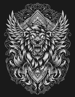 Базовый rgbillustration вектор голова льва с орнаментом старинные гравюры на черном фоне