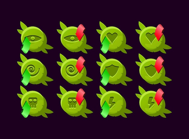 Basic set of game ui rounded wooden nature leaves gui asset elements