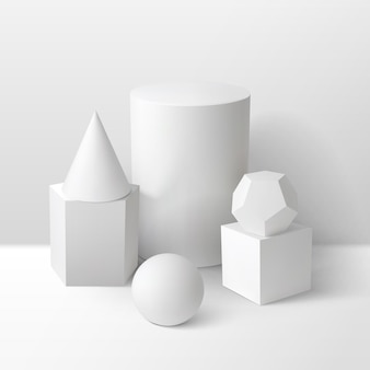 Basic stereometry shapes monochrome composition including cube cylinder sphere prism cone and dodecahedron