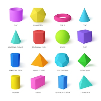 Basic stereometry shapes realistic colorful set of tetrahedral and hexagonal prism icosahedron dodecahedron square pyramid  isolated  illustration
