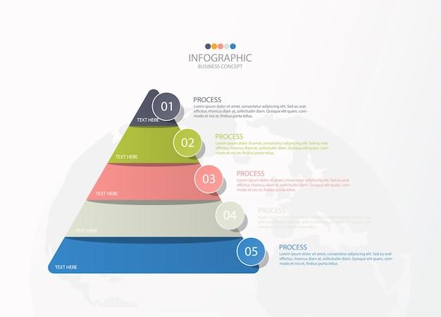 5つのステップ、プロセスまたはオプションを備えた基本的な三角形のインフォグラフィックテンプレート