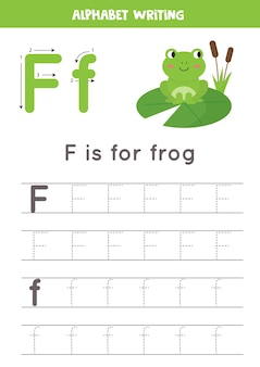 幼稚園児のための基本的なライティング練習。すべてのa〜zの文字を含むアルファベットトレースワークシート。かわいい漫画のカエルと手紙fをトレースします。教育文法ゲーム。