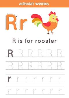 幼稚園児のための基本的なライティング練習。すべてのa〜zの文字を含むアルファベットトレースワークシート。かわいい漫画のオンドリと手紙rをトレースします。教育文法ゲーム。