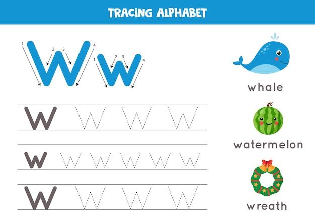 幼稚園児のための基本的なライティングの練習。すべてのaz文字を含むアルファベットトレースワークシート。かわいいクジラ、花輪、スイカで大文字と小文字のwをトレースします。教育文法ゲーム。