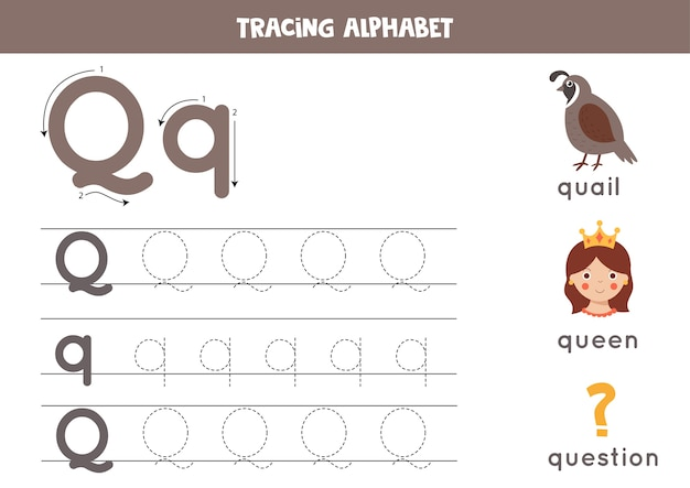 Basic writing practice for kids. alphabet tracing worksheet with all az letters. tracing uppercase and lowercase letter q with cute cartoon quail, queen, question. educational grammar game.