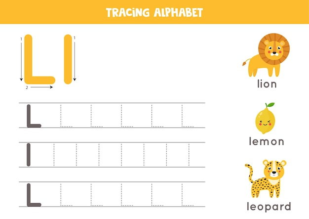 Basic writing practice for kindergarten kids. alphabet tracing worksheet with all az letters. tracing uppercase and lowercase letter l with cute cartoon lion, lemon, leopard. educational grammar game.