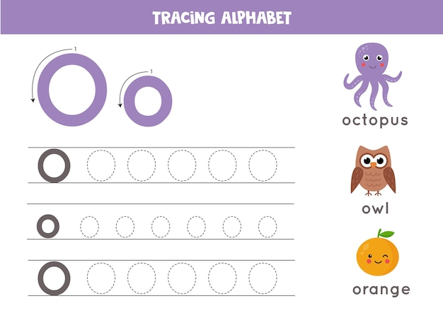 Basic writing practice for kindergarten kids. alphabet tracing worksheet with all az letters. tracing uppercase and lowercase letter o with cute cartoon octopus, owl, orange. educational grammar game.