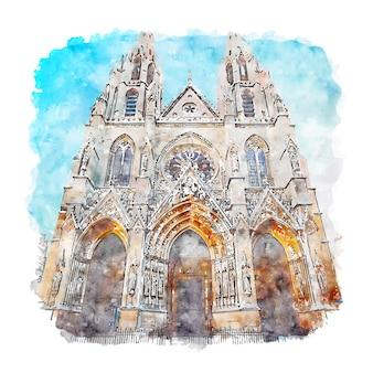 Basilique sainte paris france watercolor sketch hand drawn illustration