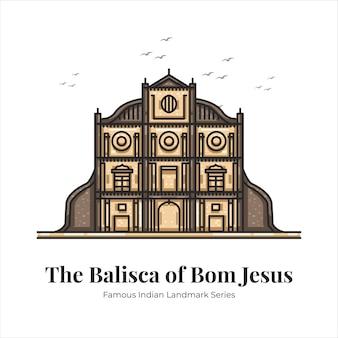 Bom 예수 인도 유명한 상징적인 랜드마크 만화 라인 아트 그림의 대성당