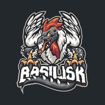 Eスポーツおよびスポーツチームのバジリスクマスコットロゴ