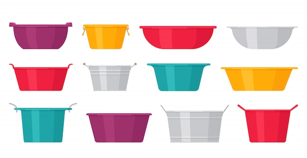 Basin. plastic, metal washbowls.   illustration.