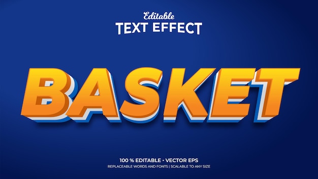 Basket 3d style editable text effects