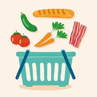 Корзина и продуктовые символы