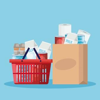 Корзина и бумажный пакет с продуктами