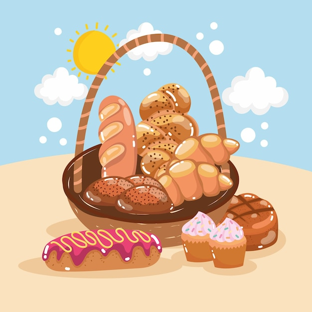 Basket and bakery product