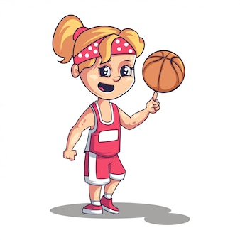 Basket ball player cute little girl