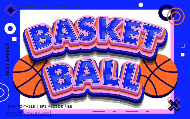 Стиль текстового эффекта баскетбольного мяча