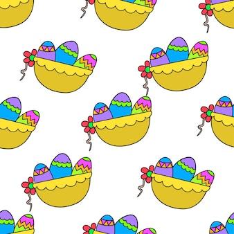 바구니 부활절 달걀 원활한 패턴 섬유 인쇄입니다. 여름 빈티지 패브릭, 스크랩북, 벽지, 선물 포장에 좋습니다. 반복 패턴 배경 디자인