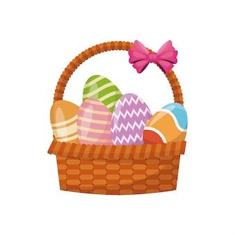 바구니 계란 부활절 축하