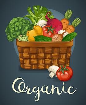 Basket of fresh vegetables template
