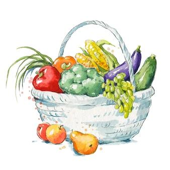 A basket full of fresh fruit and vegetables watercolor illustration