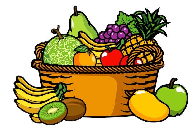 果物いっぱいのバスケット