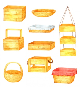 Basket hand drawn watercolor element for design