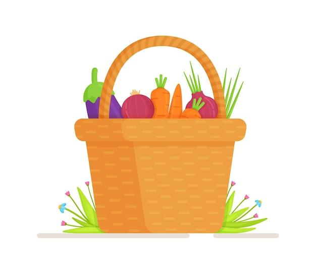庭からの野菜のバスケット。収穫集会のイラスト。