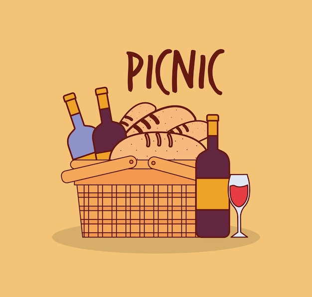 Basket for a picnic with bottles and breads under a picnic lettering illustration design