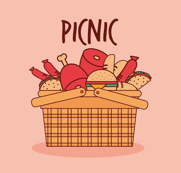 Basket for a picnic with meat, burguers and tacos under a picnic lettering illustration design