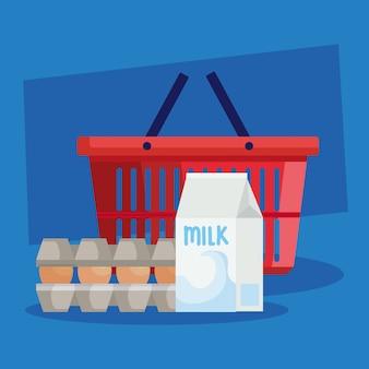 Корзина для покупок с продуктами