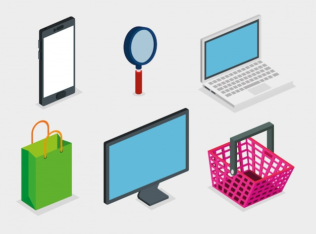 Basket shopping with set icons