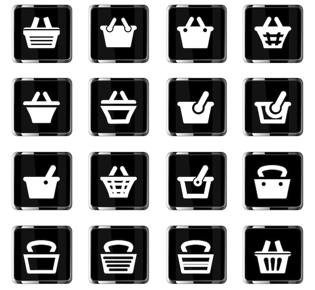 Basket vector icons for user interface design