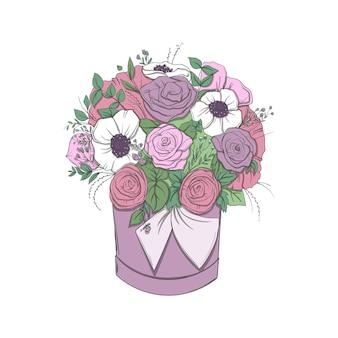 白い背景の上の明るい花の花束とバスケット