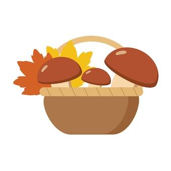 단풍과 버섯 흰색 배경에 고립 바구니. 벡터가을 평면 만화 일러스트 레이 션. 가을 카드나 휴가를 위한 장식 요소입니다.