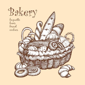 Basket with bakery