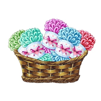 Basket with balls of wool for knitting