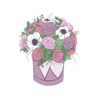 Basket with a bouquet of bright flowers on white background