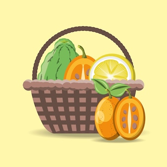 Basket with citric fruits over yellow background